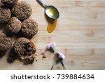 bran muffins on a wooden... | Shutterstock . vector #739884634