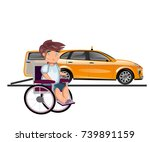 taxi or car for man on... | Shutterstock .eps vector #739891159