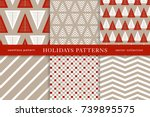 set of winter holiday seamless... | Shutterstock .eps vector #739895575