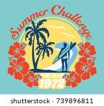 summer surfing challenge... | Shutterstock .eps vector #739896811