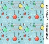 new year christmas memphis... | Shutterstock .eps vector #739899445