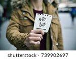 closeup of a young caucasian... | Shutterstock . vector #739902697