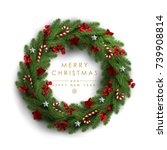 christmas wreath made of... | Shutterstock .eps vector #739908814