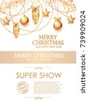 christmas flyer and poster... | Shutterstock .eps vector #739909024