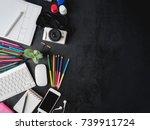 top view of graphic designer... | Shutterstock . vector #739911724