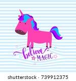 cute unicorn. believe in magic... | Shutterstock .eps vector #739912375
