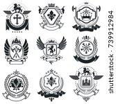 heraldic coat of arms... | Shutterstock .eps vector #739912984