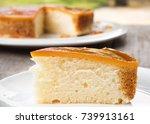 closeup sliced caramel custard... | Shutterstock . vector #739913161