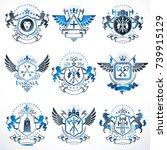 vector vintage heraldic coat of ...   Shutterstock .eps vector #739915129