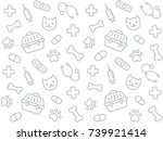 cute vet seamless pattern. hand ... | Shutterstock .eps vector #739921414