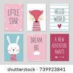 birthday cards with quotes ... | Shutterstock .eps vector #739923841