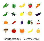 set of colored vegetable icons. ... | Shutterstock .eps vector #739923961