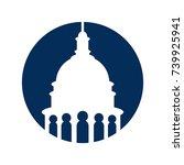 capitol building vector logo.   Shutterstock .eps vector #739925941