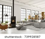 living room with fireplace in... | Shutterstock . vector #739928587