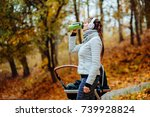 young smiling sporty woman with ... | Shutterstock . vector #739928824