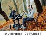 happy sporty mother in...   Shutterstock . vector #739928857