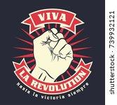 raised protest human fist.... | Shutterstock .eps vector #739932121