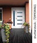 modern stone house entrance...   Shutterstock . vector #739934461