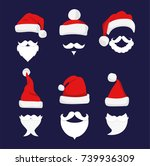 santa hats  moustache and... | Shutterstock .eps vector #739936309
