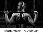 back view young female doing... | Shutterstock . vector #739936984