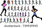 runners in color sportswear... | Shutterstock .eps vector #739939945