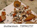 broken piggy bank elevated view. | Shutterstock . vector #739941757