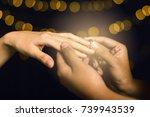 romantic proposal  wedding or...   Shutterstock . vector #739943539
