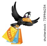 flying crow carries the... | Shutterstock .eps vector #739946254