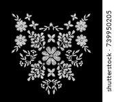 white flower embroidery artwork ... | Shutterstock .eps vector #739950205