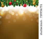 christmas border with golden... | Shutterstock . vector #739956751