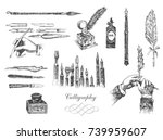 vintage hand drawn hands... | Shutterstock .eps vector #739959607