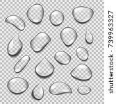 set of transparent drops of... | Shutterstock .eps vector #739963327