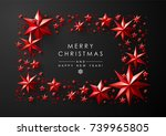christmas frame made of cutout... | Shutterstock .eps vector #739965805