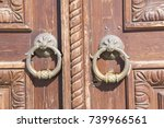 old carved wooden door with a... | Shutterstock . vector #739966561