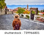 tourist woman in hat with... | Shutterstock . vector #739966801