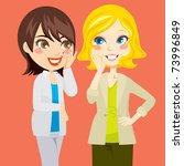 pretty blond and brunette women ...   Shutterstock . vector #73996849