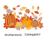 autumn leaves and pumpkins on... | Shutterstock .eps vector #739968997