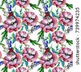 wildflowers in watercolor... | Shutterstock . vector #739974235