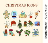 vector icon set with color...   Shutterstock .eps vector #739975819