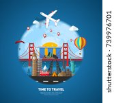 time to travel concept. sight... | Shutterstock .eps vector #739976701
