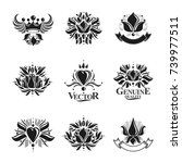 royal symbols  flowers  floral... | Shutterstock .eps vector #739977511