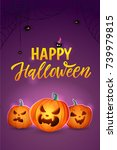 happy halloween vertical poster.... | Shutterstock .eps vector #739979815