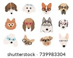 collection of cute dogs of... | Shutterstock .eps vector #739983304