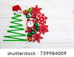 christmas tree made from ribbon ... | Shutterstock . vector #739984009