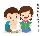 kids reading book boy and girl...   Shutterstock .eps vector #739994287