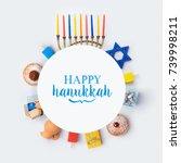 jewish holiday hanukkah banner... | Shutterstock . vector #739998211