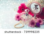 women perfume bottle and pearl... | Shutterstock . vector #739998235