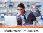 businessman sweating... | Shutterstock . vector #740000125