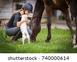 Stock photo young pretty girl preparing horse for ride and petting jack russel terrier 740000614