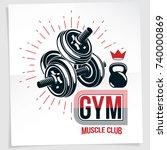 gym advertising vector leaflet... | Shutterstock .eps vector #740000869